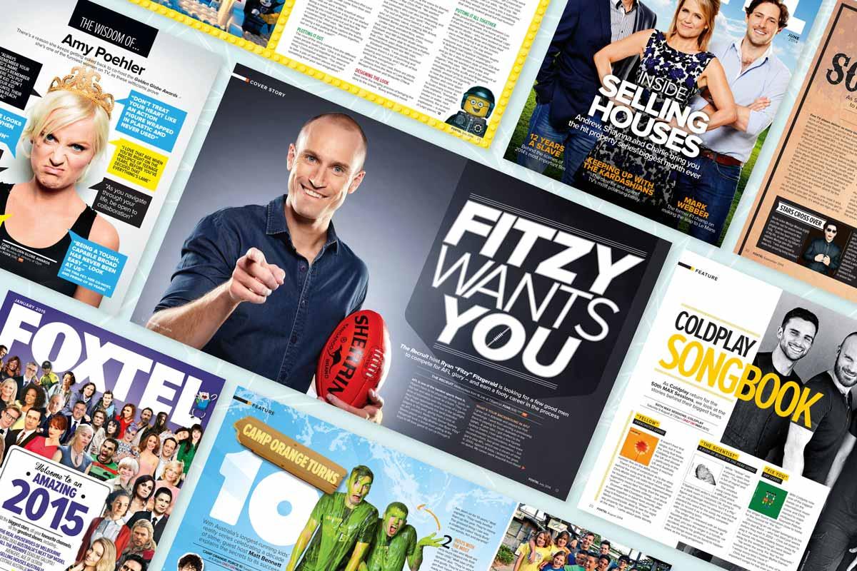 FOXTEL magazine various spreads