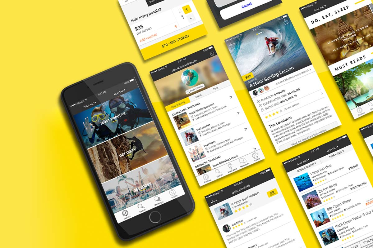 Backpacker travel app all pages
