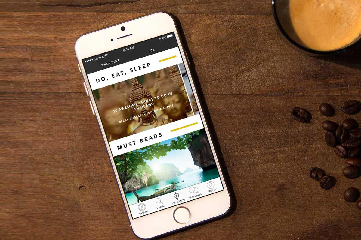Backpacker travel app blog page