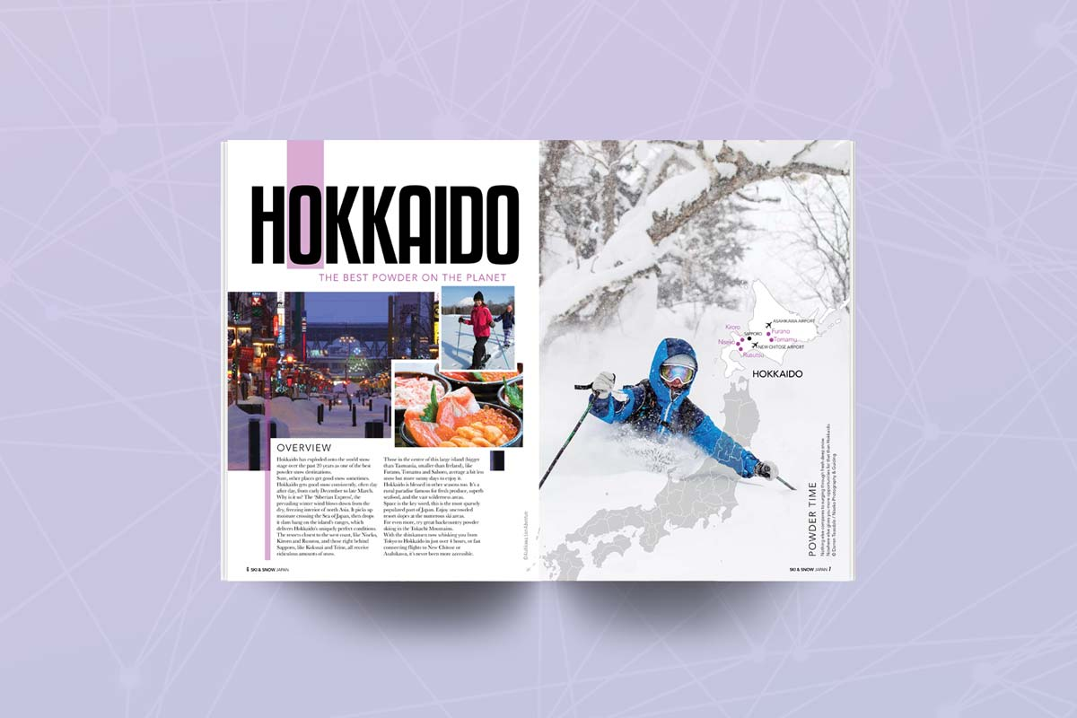 Pages of Japan Ski guide featuring Hokkaido