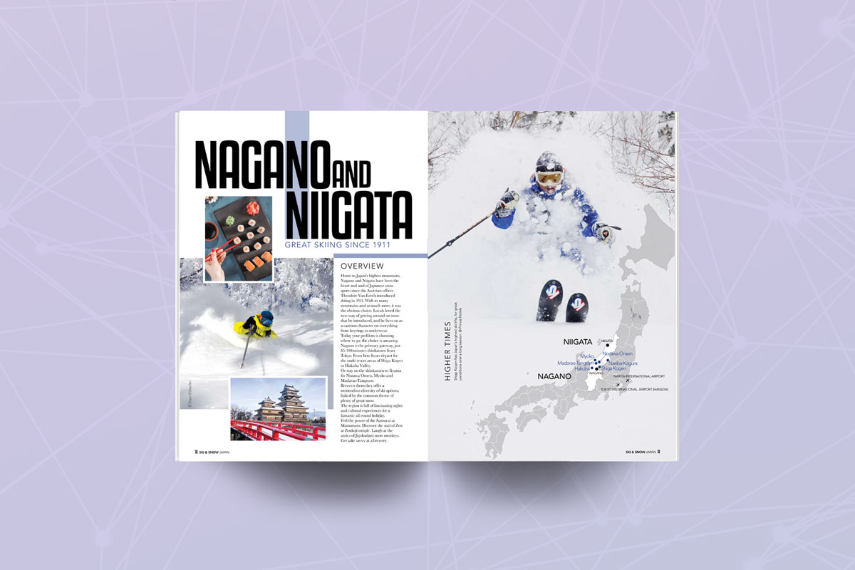 Pages of Japan Ski guide featuring Nagano and Niigata
