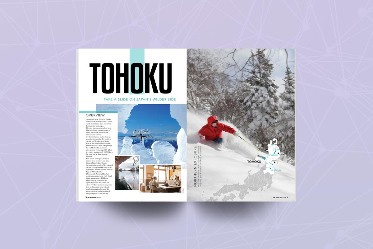 Pages of Japan Ski guide featuring Tohoku
