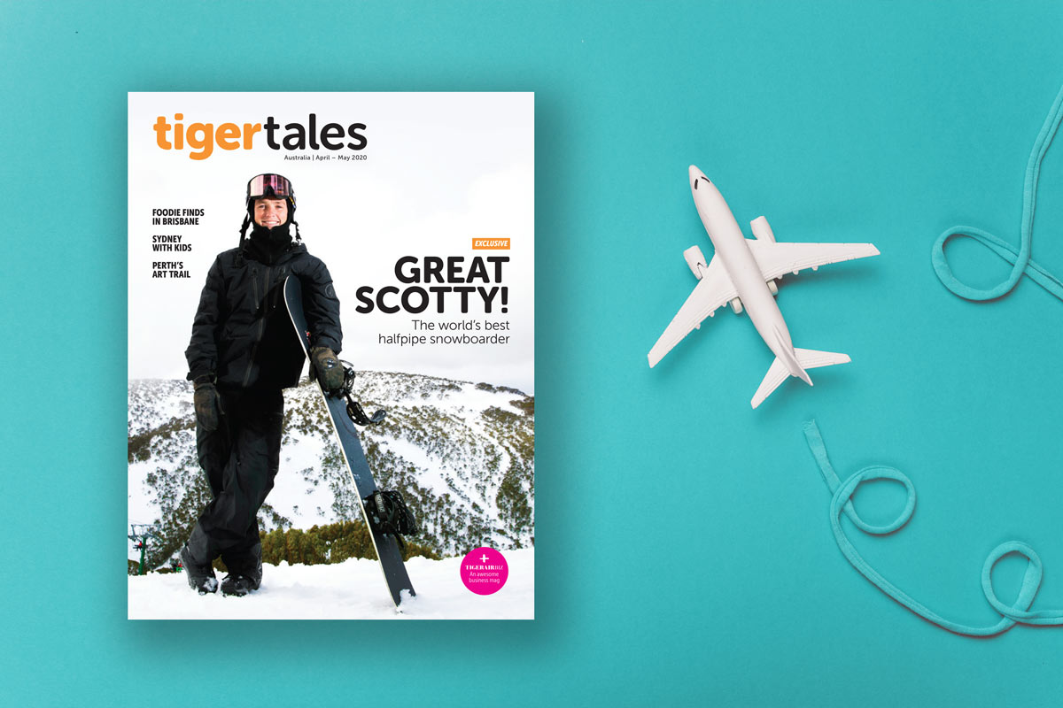 TigerAir inflight magazine cover skiing